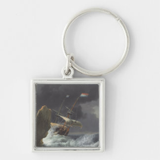 Ships in Distress off a Rocky Coast Silver-Colored Square Key Ring