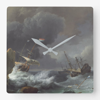 Ships in Distress off a Rocky Coast Wall Clock