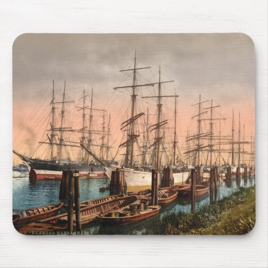 Ships in Hamburg Harbour, Germany Mouse Mat