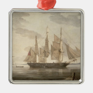 Ships in Harbour, 1805 (oil on canvas) Silver-Colored Square Decoration