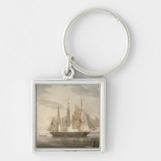 Ships in Harbour, 1805 (oil on canvas) Silver-Colored Square Key Ring