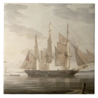 Ships in Harbour, 1805 (oil on canvas) Tile