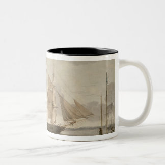 Ships in Harbour, 1805 (oil on canvas) Two-Tone Coffee Mug