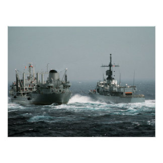 Ships in rough seas poster