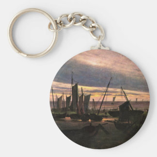 Ships In The Harbor At Night After Sunset Keychain