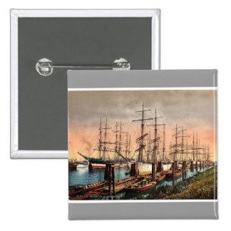Ships in the Harbor, Hamburg, Germany rare Photoch Button