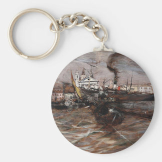 Ships in Venice by Giovanni Boldini Basic Round Button Key Ring