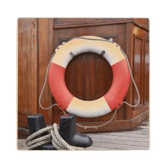 Ships Lifebelt Maple Wood Coaster