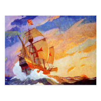 Ships of Christopher Columbus at sea Vintage Postcard