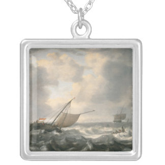 Ships on a Choppy Sea Silver Plated Necklace