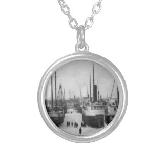 Ships on the Belle River Marine City Michigan Round Pendant Necklace