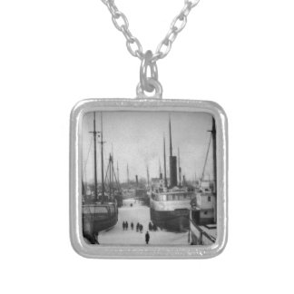 Ships on the Belle River Marine City Michigan Square Pendant Necklace
