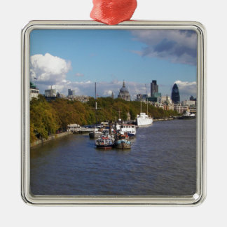Ships on the Thames. Silver-Colored Square Decoration