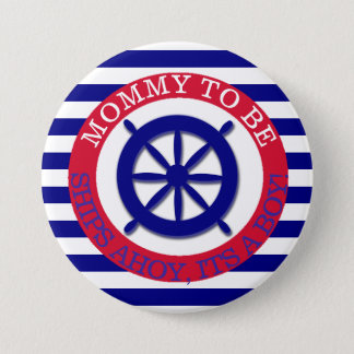 Ships steering wheel, Its a Boy Baby Shower Button