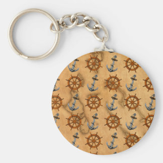 Ships Wheel And Anchor Basic Round Button Key Ring