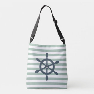 Ships wheel and anchor nautical beach crossbody bag