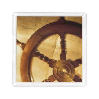 Ship'S Wheel And Map Acrylic Tray