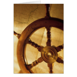 Ship'S Wheel And Map Card