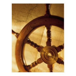 Ship'S Wheel And Map Postcard