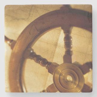 Ship'S Wheel And Map Stone Coaster