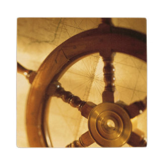 Ship'S Wheel And Map Wood Coaster