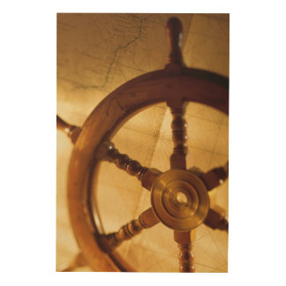 Ship'S Wheel And Map Wood Wall Art