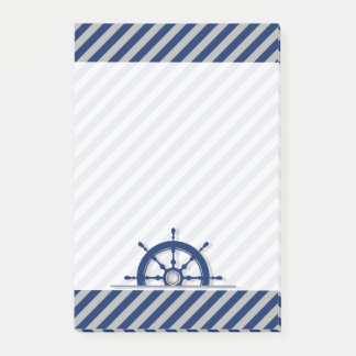 Ships Wheel Blue Silver Gray Stripes Nautical Post-it Notes