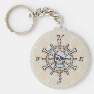Ship's Wheel Compass Rose Key Chain