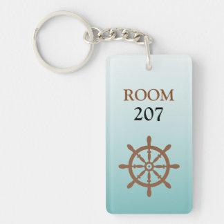 Ships Wheel Hotel Room Numbered Key Single-Sided Rectangular Acrylic Key Ring