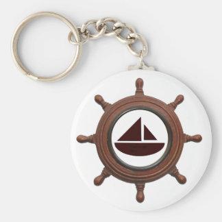 Ship's Wheel Basic Round Button Key Ring