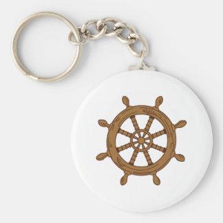 SHIPS WHEEL BASIC ROUND BUTTON KEY RING