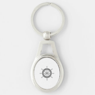 Ships Wheel Nautical Silver-Colored Oval Key Ring