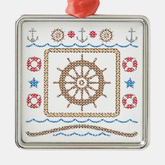 Ship's Wheel Ugly Christmas Sweater Ornament