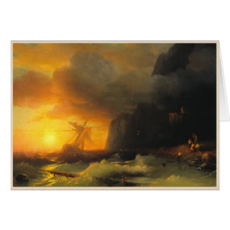 Shipwreck at Mount Athos Ivan Aivasovsky seascape Greeting Cards