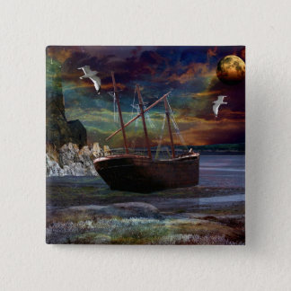 Shipwreck at Pixie Cove 15 Cm Square Badge