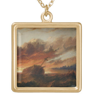 Shipwreck, c.1850 (oil on canvas) gold plated necklace