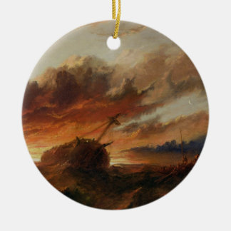 Shipwreck, c.1850 (oil on canvas) round ceramic decoration
