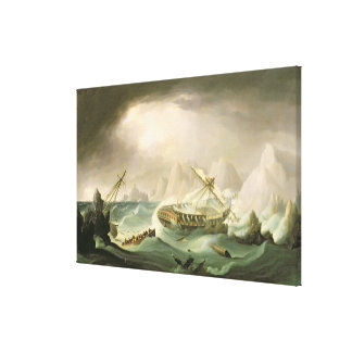 Shipwreck off a Rocky Coast (oil on canvas) Canvas Print
