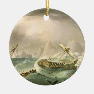 Shipwreck off a Rocky Coast (oil on canvas) Ornaments
