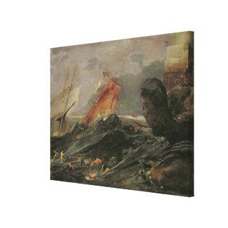 Shipwreck on a Rocky Shore, c.1645-50 Canvas Print
