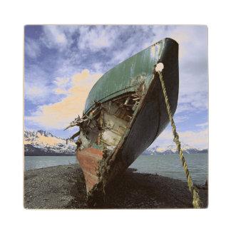 Shipwreck On Shore Wood Coaster