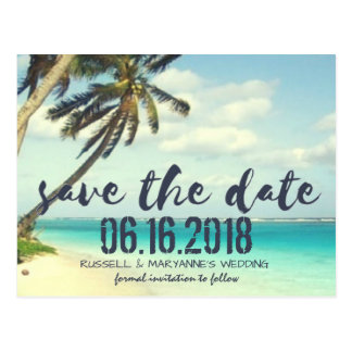 Shipwrecked Beach Wedding Save the Date Postcard