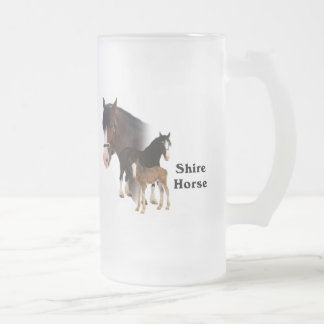 Shire Horse Frosted Glass Beer Mug