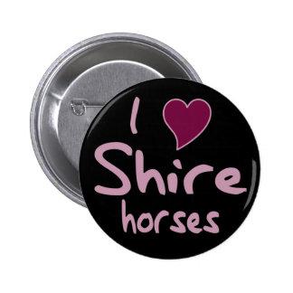 Shire horses 6 cm round badge