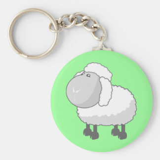 Shirley the Cute Cartoon Sheep Basic Round Button Key Ring