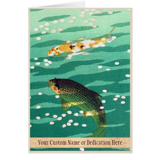 Shiro Kasamatsu Karp Koi fish pond japanese art Greeting Cards