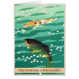 Shiro Kasamatsu Karp Koi fish pond japanese art Note Card