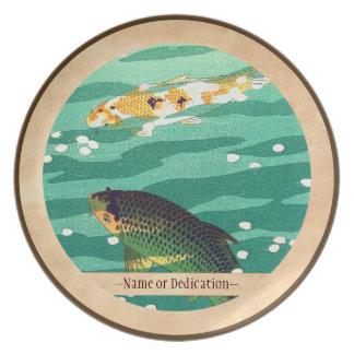 Shiro Kasamatsu Karp Koi fish pond japanese art Plate