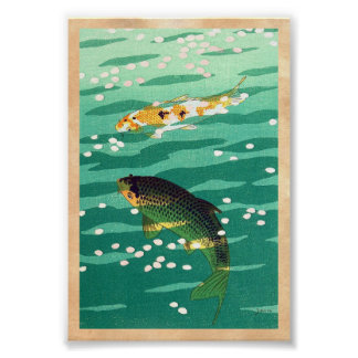 Shiro Kasamatsu Karp Koi fish pond japanese art Poster