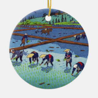 Shiro Kasamatsu Rice Planting shin hanga scenery Round Ceramic Decoration